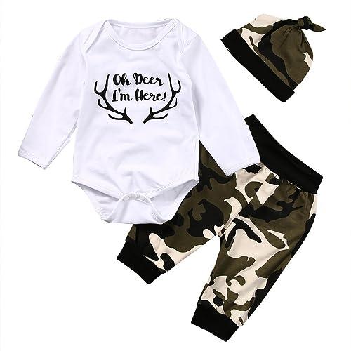 Bébé Garçon Ensemble Haut Blanc Ramure Imprimée Pantalon Couleur  Camouflage+Chapeau a1960dfe5ac