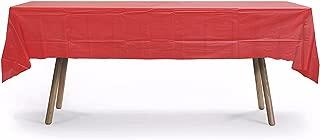 10 Pack Rectangular Table Cover, Premium Plastic Tablecloth, Plastic Table Cover Reusable (Red)