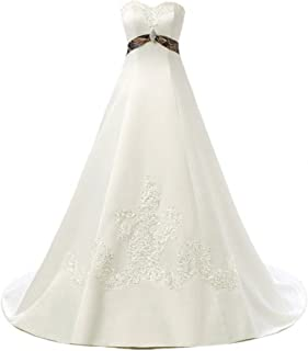 LEJY Women's Satin Appliques Beads Camo Ball Gown Camouflage Wedding Dresses for Bride