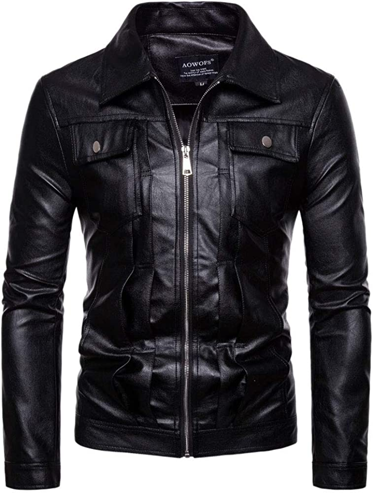 Men's Factory New Shipping Free Shipping outlet Vintage PU Leather Biker Jacket Moto Fall Fit Slim Classic