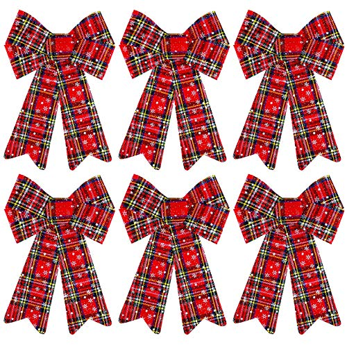 Aneco 6 Pack Christmas Buffalo Plaid Bows PVC Christmas Wreath Bows Xmas Tree Decor Bows for Indoor Outdoor Wreath Home Ornaments, 9 x 12 Iches