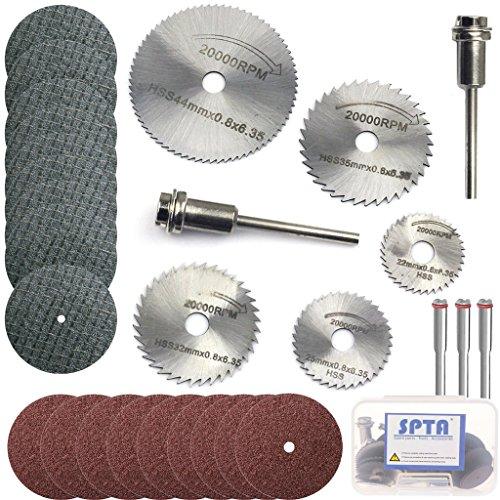 SPTA HSS Saw Blades Rotary Tool Circular Saw Blade & Resin Metal Cutting Blade Wheels Disc Set for Proxxon Dremel Rotary Tool Pack Of 40Pcs