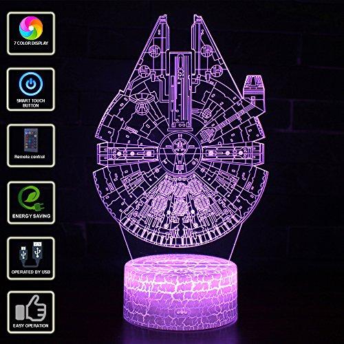 3D Illusion Lampe NHSUNRAY 7 Farben LED Touch Tischleuchte mit Fernbedienung Nachtlicht Für Schlafzimmer Home Decoration Hochzeit Geburtstag Weihnachten Valentine Geschenk (Star Wars series)