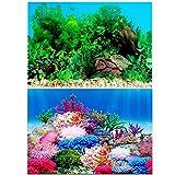 Amakunft Adhesivo para fondo de acuario de 30 cm de alto x 41,9 cm de ancho, doble cara para fondo de peces, plantas de agua y póster de arrecife de coral