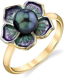 THE PEARL SOURCE 6-6.5mm Genuine Black Japanese Akoya Saltwater Cultured Pearl & Enamel Maggie Ring for Women
