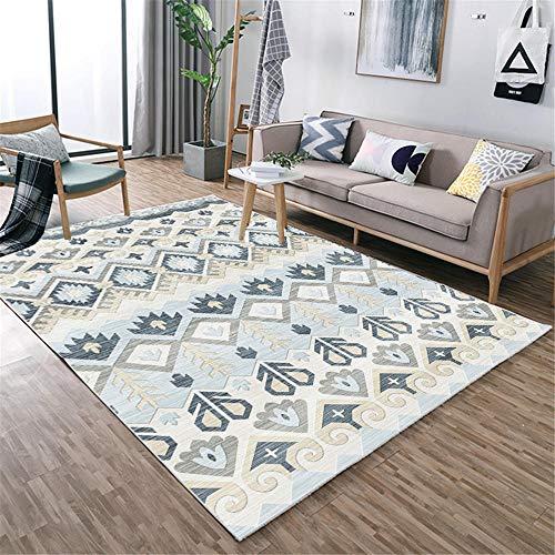 ZHAOPAI Tapijt/duurzaam tapijt, verschillende kleurengroottes, hals, geometrische abstractie, haarkleurig, zacht, rechthoekig, ademend, antislip, grijs-blauw