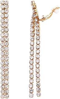 Rosemarie Collections Women's Rhinestone Fringe Dangle Clip On Drop Earrings