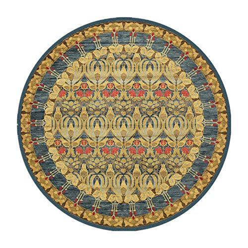 HEPAI Alfombras Redondas de Estilo Retro para la Sala de Estar Alfombras de Flores clásicas y alfombras de decoración Dormitorio Mesa de Centro Alfombra de área (Diameter 80cm,Yellow)
