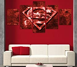 Ssckll Modern Home Wall Art Canvas Hd Printed Painting Pictures Children's Room Decor 5 Panel Movie Superman Red Posters -Frameless