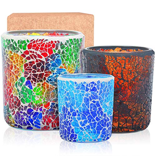 Larcenciel Tea Light Candle Holder Mosaic Glass Candle Jars, Handmade Romantic Tealight Holders for Make Candles and Essential Oil Diffuser, Table Centerpiece, Decor, Set of 3 in 3 Size, Multicolor