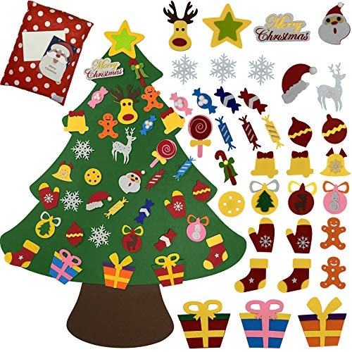 4Ft DIY Felt Christmas Tree with 36pcs Ornaments, Xmas Gifts for Kids and Toddlers Handmade Christmas Door Wall Hanging Decorations