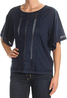 Ralph Lauren $69 Womens New 1749 Navy Embroidered Short Sleeve Top XS B+B