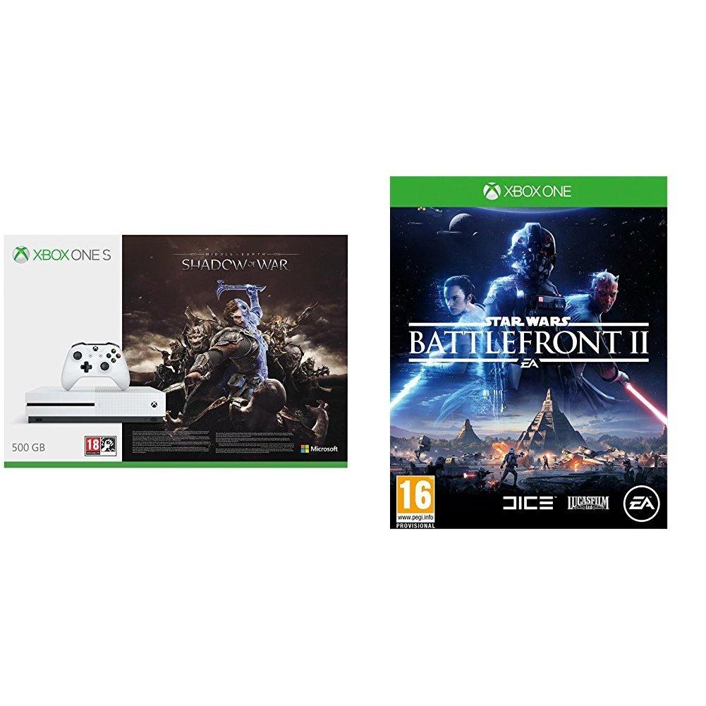 Xbox One S - Consola 500 GB + Sombras De Guerra + Game Pass (1M) + Star Wars: Battlefront II - Edición estándar: Amazon.es: Videojuegos