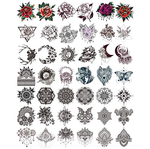 42 pieces of environmental protection waterproof henna flower temporary tattoos stickers on the back of the hand, sexy rose tattoo mandala flower fake tattoos stickers (2.75×3.14 inches)