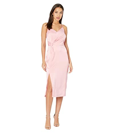 Cupcakes and Cashmere Aquila Spaghetii Strap Satin Wrap Dress w/ Slit (Peony) Women