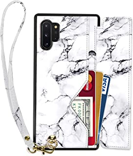 Samsung Galaxy Note 10 Plus Wallet Case, Samsung Galaxy Note 10 Plus Case with Card Holder Wrist Strap, ZVEdeng Print Designed Case Leather for Samsung Galaxy Note 10 Plus,6.8Inch-White Marble