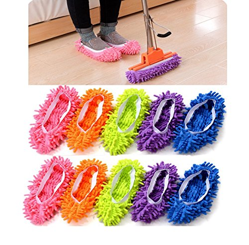 (5 Pairs)10pcs Mop Slippers Shoes Cover, Soft Washable Reusable Microfiber Foot Socks Floor Dust Dirt Hair Cleaner for Bathroom Office Kitchen House Polishing Cleaning