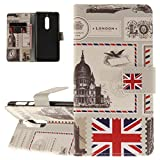 ISAKEN Nokia 5 Hülle, PU Leder Brieftasche Geldbörse Wallet Case Ledertasche Handyhülle Tasche Schutzhülle Hülle Etui mit Standfunktion Karte Halter für Nokia 5 - Postkarte Fahne