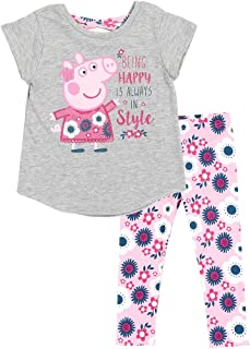 Peppa Pig Little Girls' Toddler Pullover Top and Leggings Set