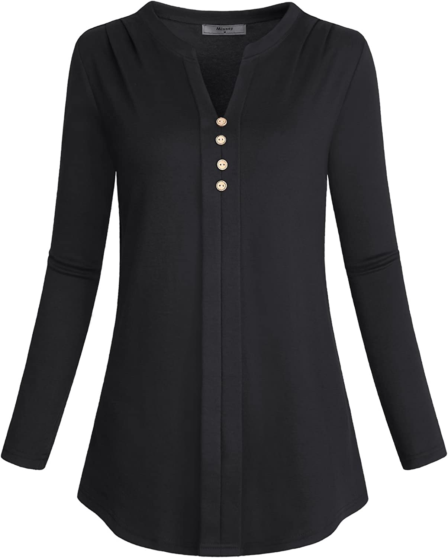 Miusey Women's Notch V Neck Long Sleeve Pleat Knit Henley Tunic Shirt