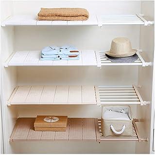 HyFanStr Étagère extensible pour penderie, placard, étagères de placard à aérer (longueur : 73–130 cm, largeur : 42 cm, bl...