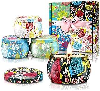 YMing Juego de 4 velas perfumadas velas de estaño grandes de cera de soja natural mejorada regalo para mujeres con aceit...