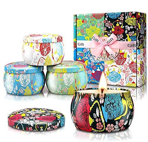 YMing Duftkerzen Geschenkset, natürliches Soja-Wachs große tragbare Reise-Zinnkerzen Frauen-Geschenk mit stark duftenden ätherischen Ölen für Stressabbau und Aromatherapie - 4 Packung (Blumen-)