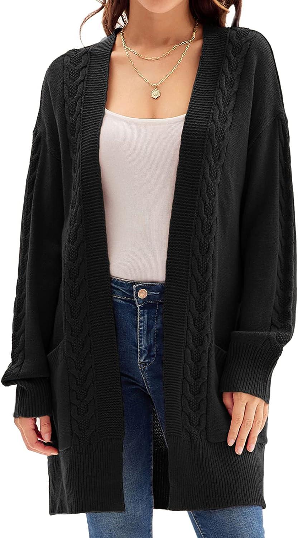 GRACE KARIN Women Long Sleeve Open Front Cardigan Sweaters Classy Cable Knitwear