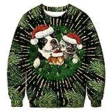 BFBMY Unisex Uomini Donne 2020 Brutto Natale Maglione Santa Elf Divertente Natale Finto Capelli Jumper Autunno Inverno Top Abbigliamento All'ingrosso (Colore: 021, Taglia: L (66 80) kg)