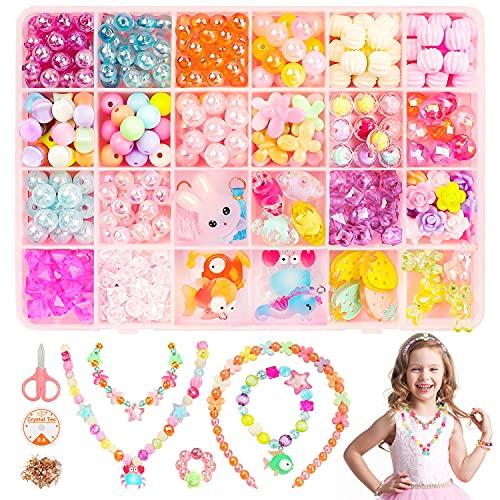 Viosmut Niños Bricolaje Conjunto de Cuentas, 24 Clases Abalorios para Hacer Pulseras Collares, Cuentas de Colores para Niñas como Regalos de Navidad y Cumpleaños