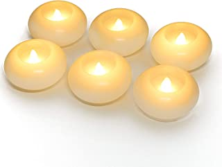 Homemory 100 Hour LED Floating Candles, 3 Inch, White Wax, Battery Flickering Waterproof Tealights - Wedding Centerpiece, Engagement, Dinner Parties, Beach Parties, Home Decor, Set of 6