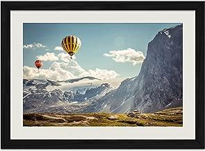 Snow Mountain Hot Air Balloon - Art Print Wall Black Wood Grain Framed Picture(16x12inches)
