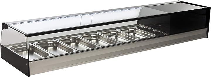 Vetrina refrigerata da banco bar per tapas 121 cm vetro retto FR-200INOX-VG