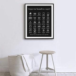 ZLARGEW Français blanchisserie Symbole Signe Imprime Noir et Blanc Affiche Mur Art Photo Toile Peinture buanderie décor-40...