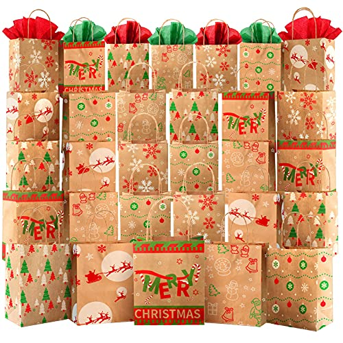 Kidtion 30 PCS Christmas Bags for Gift with Tissue Paper, 6 Styles Gift Bags Bulk with Handles, 7.5'x9'x3.5' Larger Craft Bags, Reusable Xmas Paper Bags & Goody Bags, Party Bags, Favor Bags