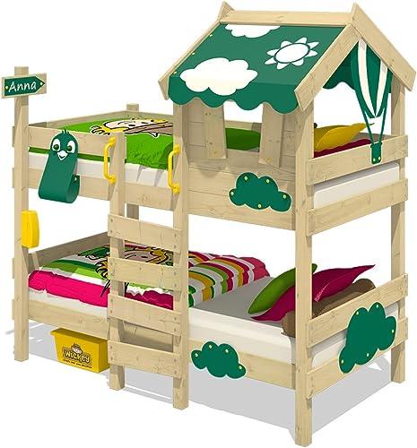 popular WICKEY Litera CrAzY Daisy Daisy Daisy Cama infantil Cama alta con techo, ventana, escalera y somier de madera, lona verde  salida para la venta