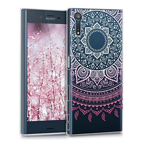 kwmobile Hülle kompatibel mit Sony Xperia XZ/XZs - Hülle Silikon transparent Indische Sonne Rosa Weiß Transparent