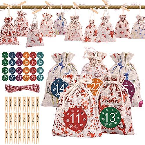 24 Stücke Adventskalender zum Befüllen Stoffbeutel Weihnachten Geschenkbeutel Natur Säckchen mit Zahlen Aufkleber Holzklammern Jute Hanfseile Weihnachtskalender tüten für Handwerk Männer Kinder