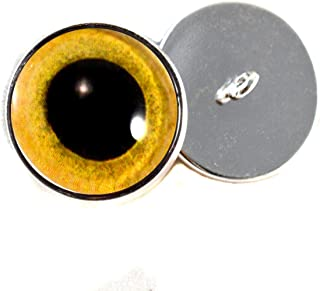 Sew on Eyes 16mm Yellow Owl Glass Eyes Cabochons for Fantasy Art Doll Stuffed Animal Soft Sculptures or Jewelry Making Crafts Set of 2