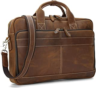 Retro Men's One Shoulder Leather Waterproof Laptop Bag Large Capacity Multifunctional Casual Storage Bag (Color : Brown, Size : 40 * 8 * 29cm)