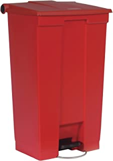 Rubbermaid Commercial Slim Jim Front Step On Trash Can, Red, 23 Gallon