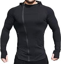 EVERWORTH Men's Fitness Workout Long Sleeve Hoodie Active Muscle Bodybuilding Zip Jackets with Zipperd Pockets