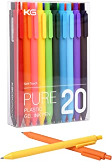 20 Assorted Colors Gel Pens, Retractable Gel Pens with Premium Ink and Comfort Grip, Fine Point for Smooth Writing (0.5mm)
