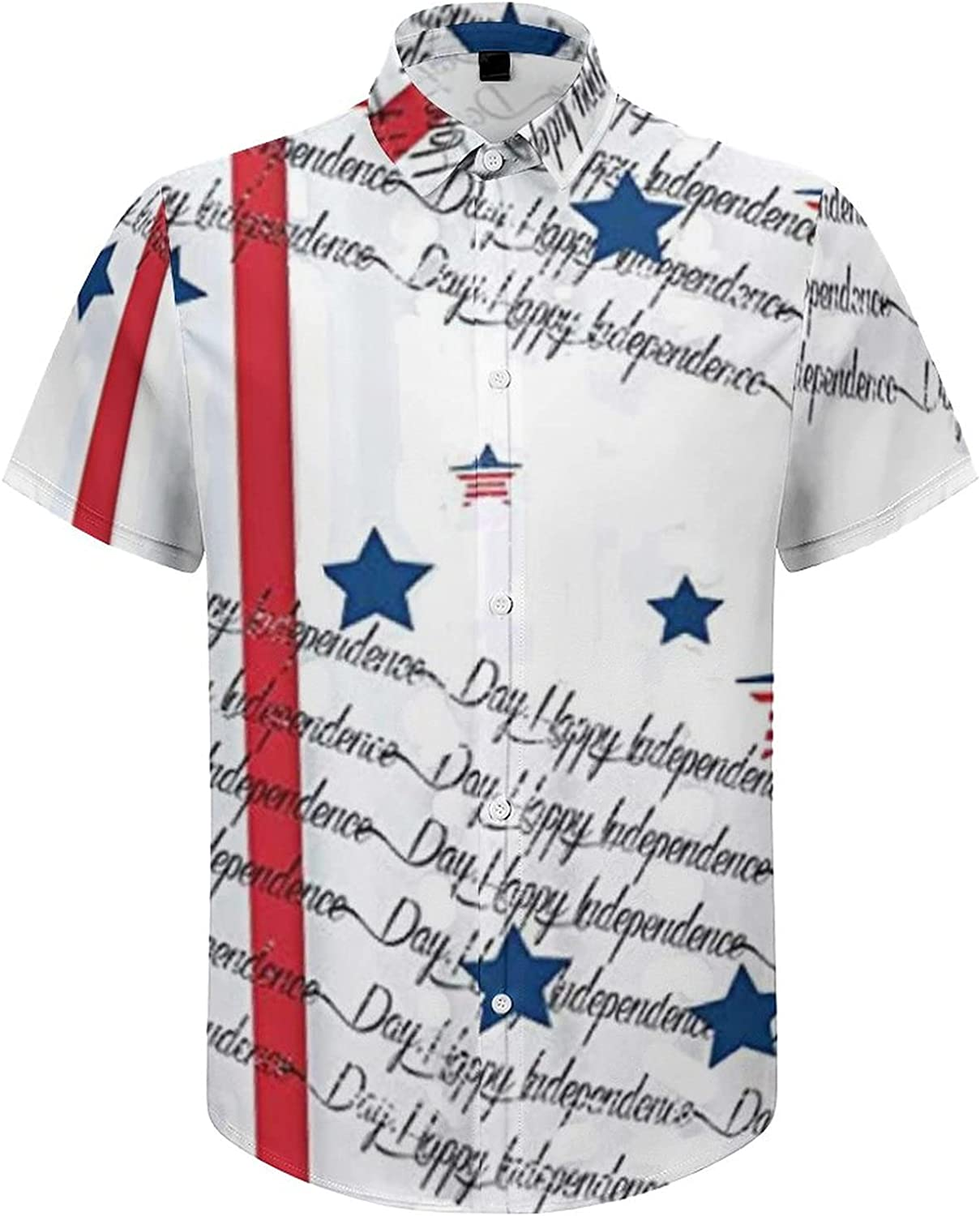 Men's Short Sleeve Button Down Shirt Fourth of July Independence Day Summer Shirts