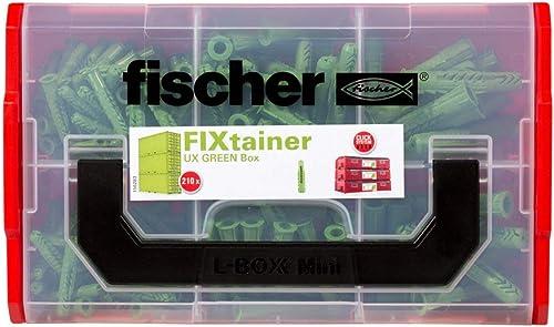 fischer - FIXtainer de 210 chevilles nylon pour tous les matériaux de construction UX GREEN sans vis / 120 UX GREEN 6...