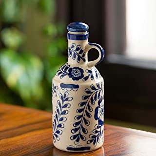 ExclusiveLane The 'Flowy Flora' Mughal Hand-Painted Ink Blue Decorative Ceramic Oil Bottle (1000 ML) (Handmade and Handcrafted In India)-Food Storage Containers and Jar Decorative Bottle for Edible Oi
