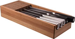 Knifedock - In-drawer Kitchen Knife Storage - The Cork Composite Material Never Dulls Your Blades. Great Gift for Any Chef! Enables you to Easily Identify Your Knives At a Glance.