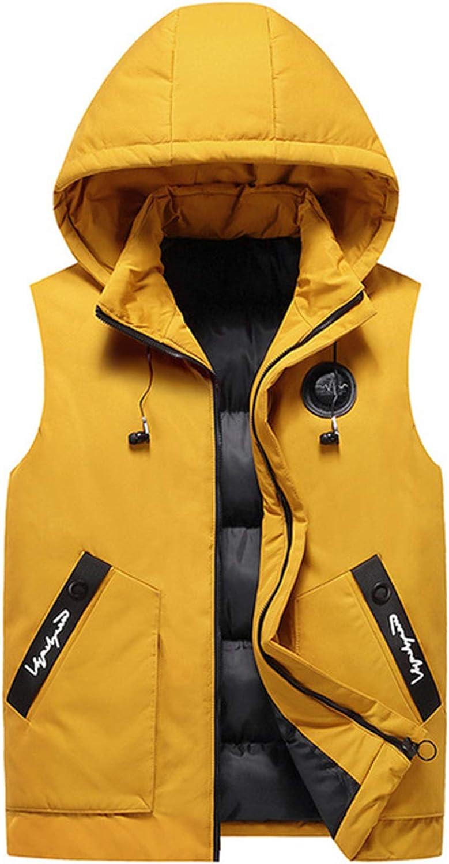 Men's Cotton Padded Vest Sleeveless Hooded Wearable Both Sides Jacket Winter Outwear