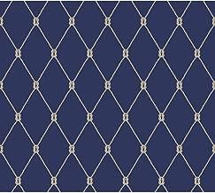 York Wallcoverings Nautical Living Knot Trellis Removable Wallpaper, Marine Blue/White/Taupe