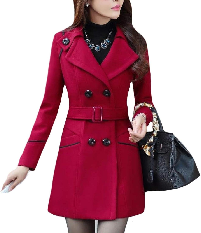 Fieer Womens Belted Wool Blend Slimming Tops Outwear Mid Long Coat